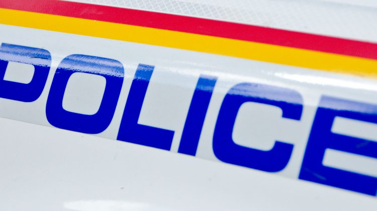 A police logo on the side of an RCMP cruiser. Photo by James Wood/ 106.1 The Goat/Vista Radio
