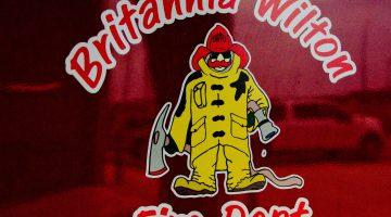 A decal on one of the vehicles of the Britannia Wilton Fire Department. Photo by James Wood/106.1 The Goat/Vista Radio