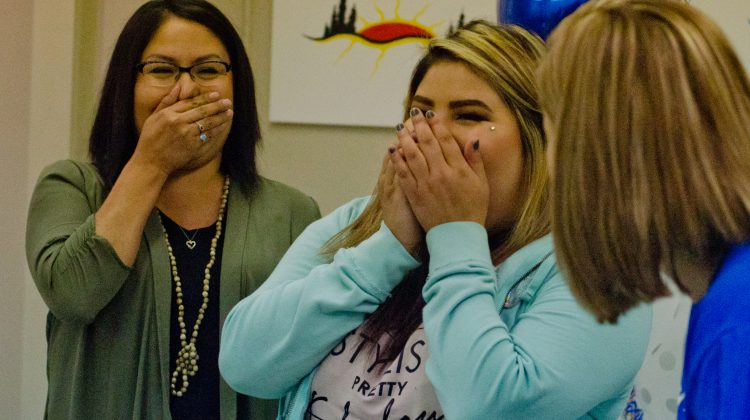 Tianna Rae Crookneck and her mother Candace Stanley react to the news that Crookneck's wish has been granted. Photo by James Wood/106.1 The Goat/Vista Radio