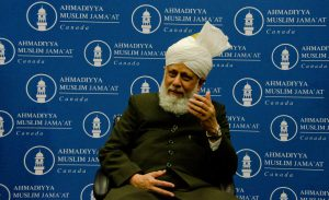 Hazrat Mirza Masroor Ahmad, the spiritual leader of the world's Ahmadiyya Muslims, speaks during a press conference in Lloydminster on Sunday morning. Photo by James Wood/106.1 The Goat/Vista Radio